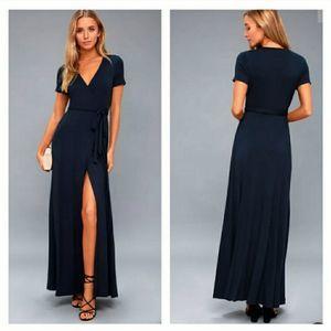 Lulu's Evolve Navy Wrap Maxi Dress Jersey S